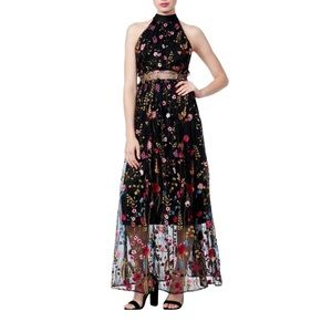 Betsey Johnson Floral sheer maxi dress black Sz 10